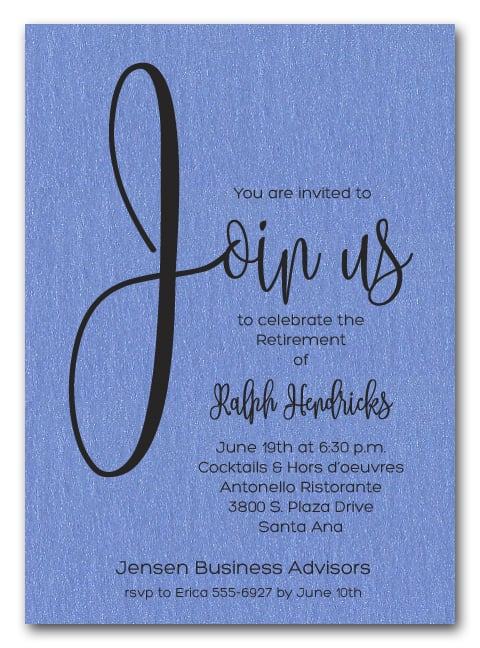 Shimmery Blue Join Us Retirement Party Invitations