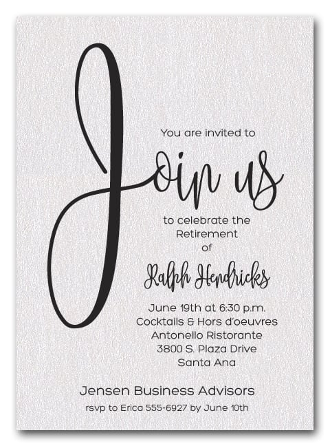 Shimmery White Join Us Retirement Party Invitations