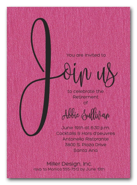 shimmery hot pink join us retirement party invitations
