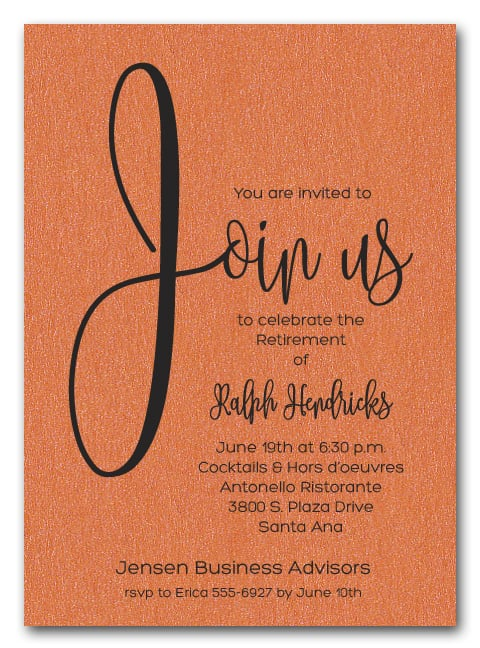shimmery orange join us retirement party invitations