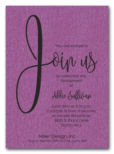 Shimmery Purple Join Us Retirement Party Invitations