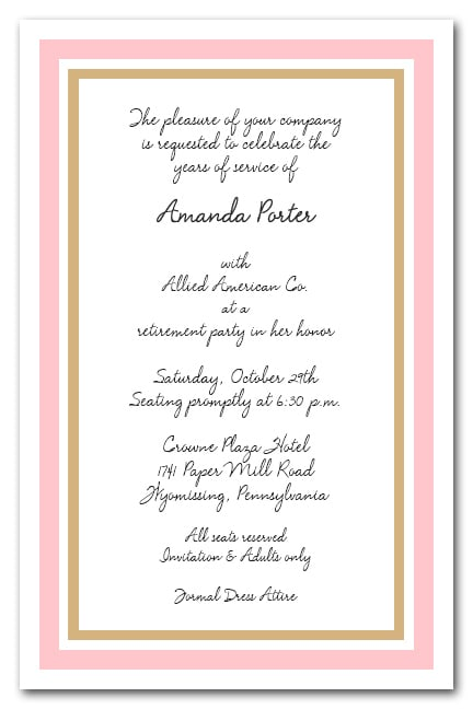 Pink And Gold Border Business Party Invitations