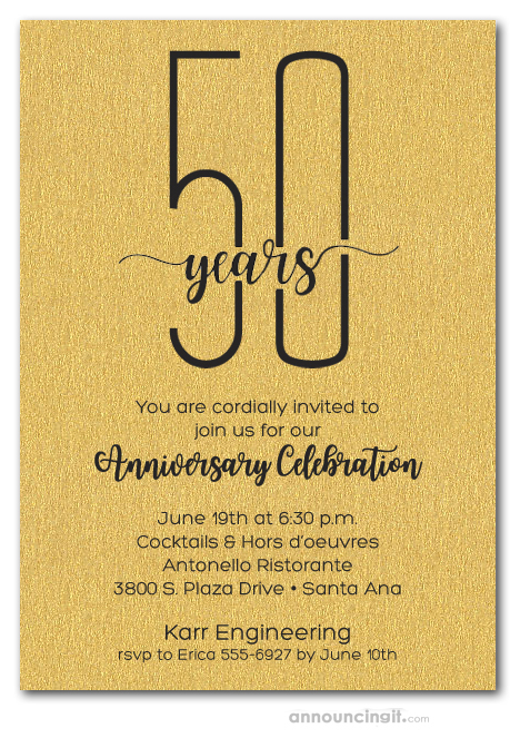 slender business anniversary party on shimmery gold invitations