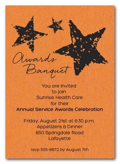 stars on orange shimmery business awards invitations