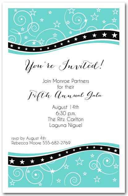 Swirls And Stars On Tiffany Blue Business Party Invitations