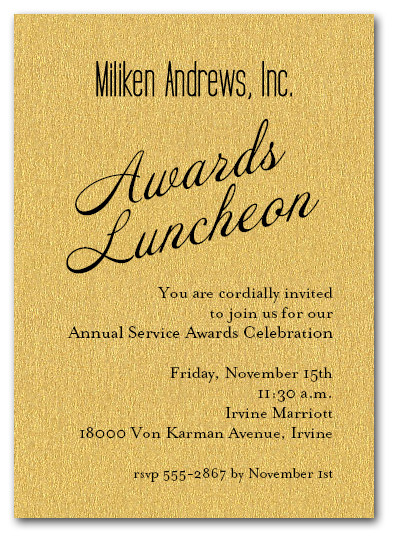 Gold Sparkle Business Awards Invitations