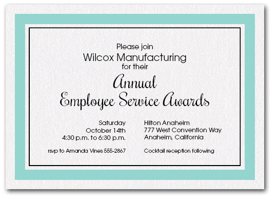 tiffany blue bordered business party invitations