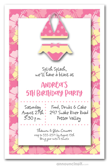 Hibiscus & Bikini Party Invitations