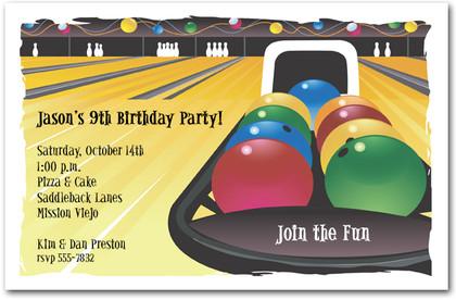 Kid Bowling Birthday Party Invitation Wording