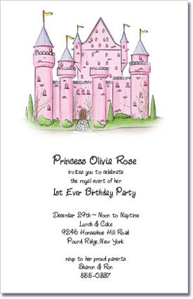 Princess Castle Girls Birthday Party Invitaitons