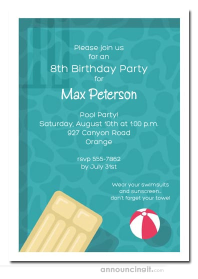 Cool Pool Swim Party Invitations