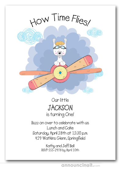 Llama Plane Pilot Birthday Invitations