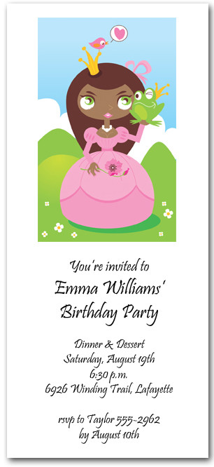 Ethnic Princess & Frog Party Invitations
