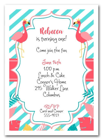 Flamingo Princess Birthday Invitations