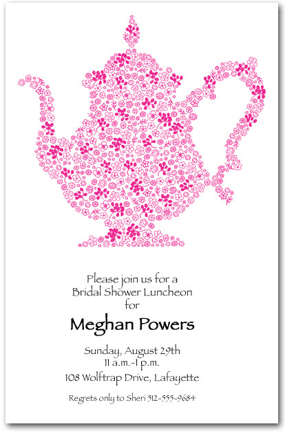 Luncheon invitations brunch invitations tea party invitations floral doodle teapot stopboris Image collections