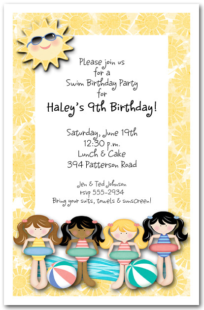 Girls Swim Time Invitations Pool Party Kids Birthday