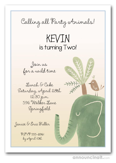 Green Elephant Boy Birthday Invitations