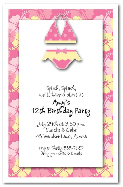 Pink Bikini Invitations Beach Invitations Pool Invitations