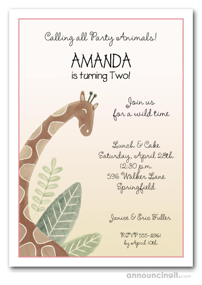 Jungle Giraffe Girl Birthday Invitations