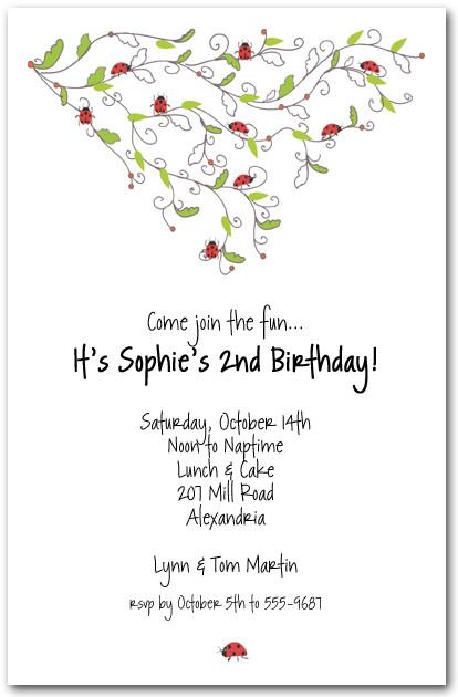 Ladybug Swirl Invitations Childrens Birthday