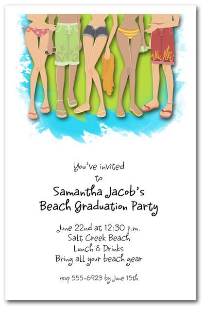 legs swim party invitations  beach party invitations