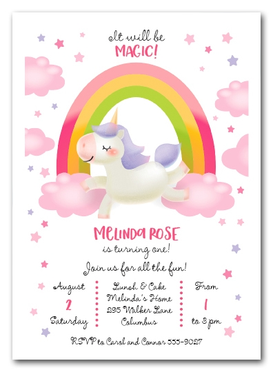 Magic Pony Birthday Invitations