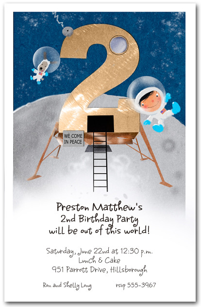 Moon Landing Party Invitation Second Birthday Party