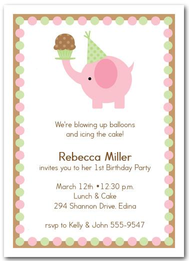 Pink elephant cupcake invitations girls birthday invitations pink elephant cupcake filmwisefo