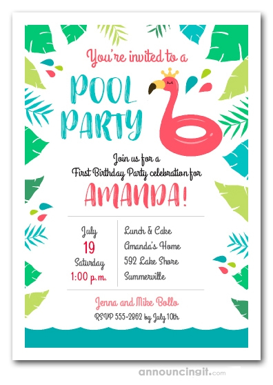 Flamingo Float Pool Party Birthday Invitations