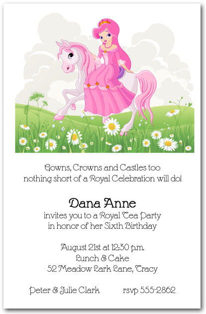 Pink Mane Horse Princess Invitations