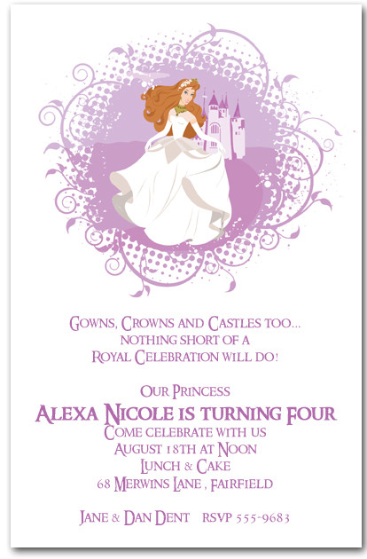 Princess Birthday Invitations Lily And Castle