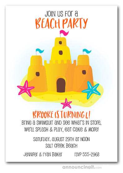 Sandcastle and Starfish Beach Party Invitations