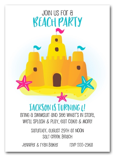 Sandcastle and Starfish Invitations