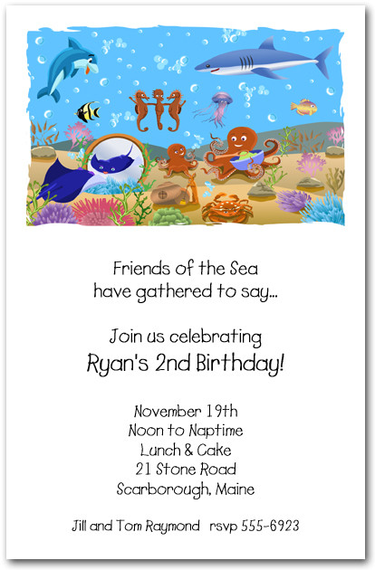 Brand-new Shark and Fish Friends Invitation, Under the Sea Birthday Invitation BS45