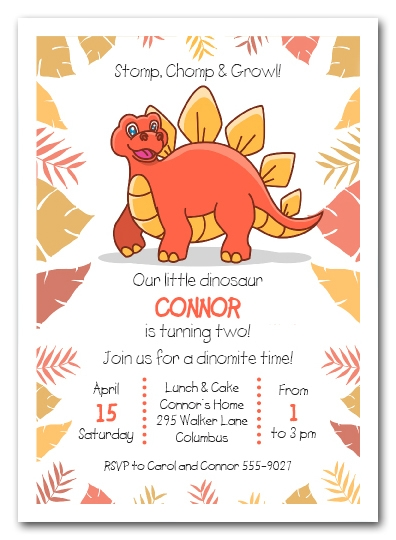 Stegosaurus Dinosaur Birthday Invitations