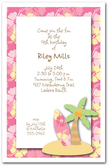 surfboard palm tree pink hibiscus surf s up invitations