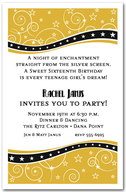 swirls and stars gold party invitations