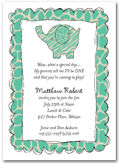 Exotic Teal Baby Elephant Party Invitations