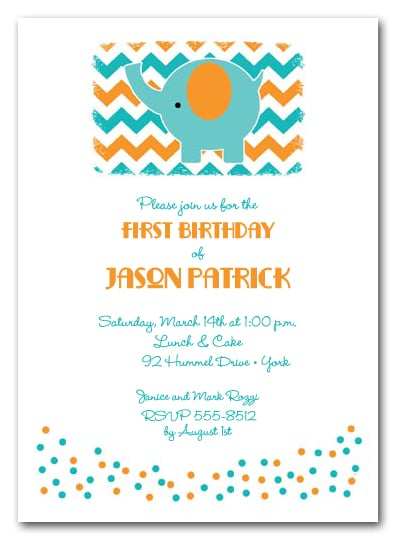 Teal Elephant on Chevron Birthday