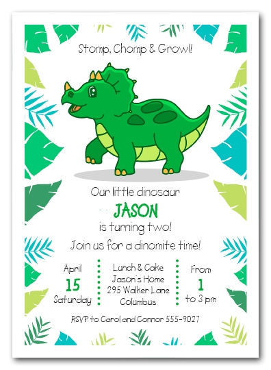 Triceratops Dinosaur Birthday Invitations