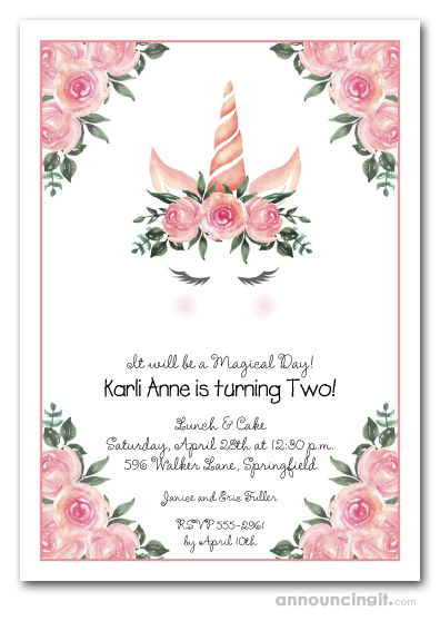 Unicorn and Pink Roses Birthday Invitations