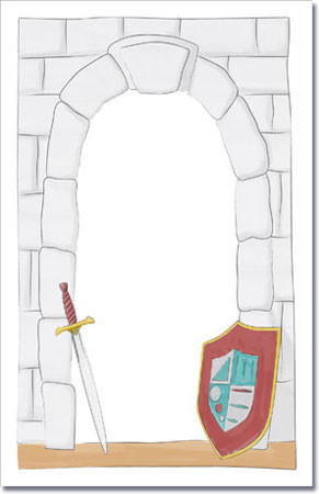 Stone Castle Wall Sword & Shield