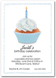 Blue Birthday Cupcake and Candle Party Invitations
