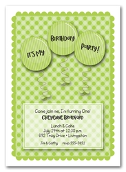 Green Balloons on Dots Birthday Invitations