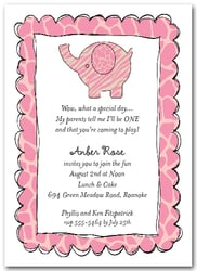 Exotic Pink Baby Elephant Party Invitations