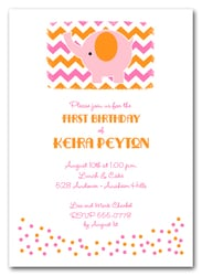 Pink Elephant on Chevron Birthday