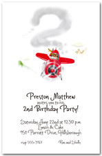 Soaring Red Plane Party Invitations