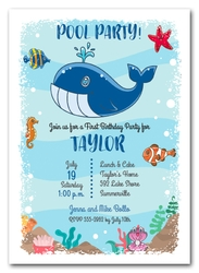 Blue Whale Birthday Invitations