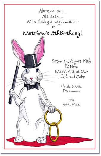 Magic Rabbit Party Invitations, Magician Invitation