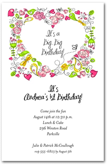 pretty hearts  u0026 flowers birthday party invitations